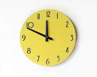 Kitchen Clock, Yellow Home Decor,  Unique Clock