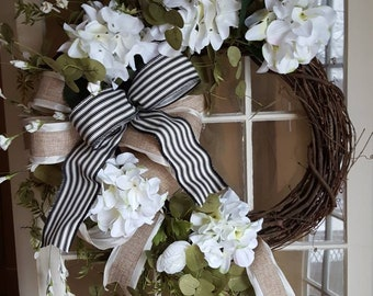 White wreath,farmhouse wreath, hydrangea wreath,front door wreath,spring wreath,summer wreath,everyday wreath,black white decor, door wreath