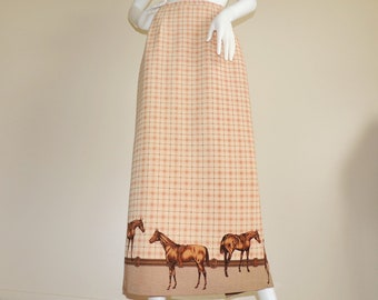 Vintage Tartan Maxi Skirt, Horse Print Skirt, Floor Length Country Skirt, Equestrian Skirt, Beige Brown Long Skirt Size 4 Made in USA