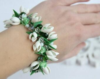 snowdrops bracelet, snowdrops jewelry, flower bracelet , romantic jewelry, bridesmaid bracelet, bridesmaid snowdrops
