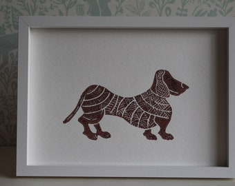 Lino Print - Limited Edition -A4 Linocut -Titled- Dachshund dog print - relief print -Dog print -linoleum print on acid free paper.