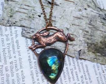 Labradorite necklace, hare necklace, labradorite pendant, animal totem, rabbit necklace, woodland necklace, spirit animal necklace