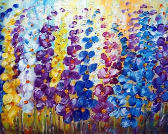 Original Oil Painting Blue Flowers Large Canvas Direct from Artist studio Art by Luiza Vizoli 36x24
