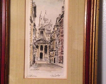 Paris Scene Vintage Sketch Print