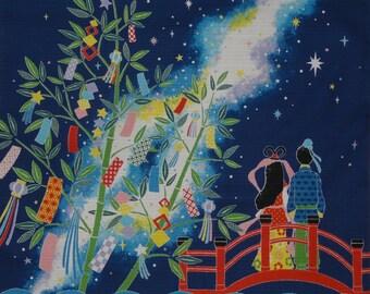 Tanabata Furoshiki Seigaiha Star Festival Cotton Japanese Fabric Square 50cm w/Free Shipping