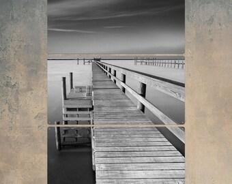 Future Wooden Pier Triptych Metal Wall Art