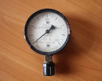 Vintage gauge, Vintage water gauge, vintage large gauge, water pressure gauge, USSR gauge, soviet union water gauge, USSR water gauge, old