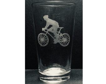 Cyclist Gift, Pint Glass, 16 oz. Bicycle Pint, Bike,Glass, Engraved Gift, Gifts for Him, Gifts for Her, Gifts under 25, Christmas Gift