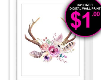 Boho Watercolor Deer Antlers Art Print, 8x10 Inch, Instant Download, Digital Print