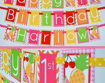 Tutti Frutti Birthday Party Banner Fully Assembled Decorations | Fruit Birthday Party | Fruity Party | Pink Green Yellow Orange | Fruit Girl
