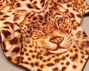 Vintage Leopard Scarf/Vintage Scarf/Animal Print Scarf/1960s Leopard Print Scarf/Gift for Her/Retro Style/Big Cat Print Vintage Scarf