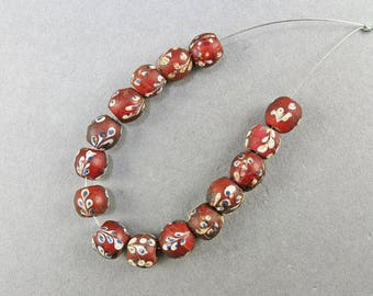 Antique African Trade Beads 15 Matched Venetian Glass Beads Jewellery Supplies Red Glass Beads Antiques Collectible Beads UK