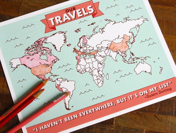 Color in travel map poster interactive map places ive gumiabroncs Images