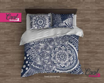 Boho Chic LACE MANDALA Bedding Set, Bohemian Duvet cover. Bedroom Decor, Queen King Duvet cover set 64