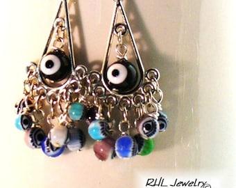 Evil Eye Earrings, Silver Chandelier Earrings, Many Eyes Protection Jewelry - E2017-06