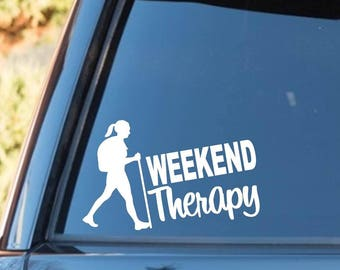 M1070 Hiker Girl Hiking Weekend Therapy Decal Sticker