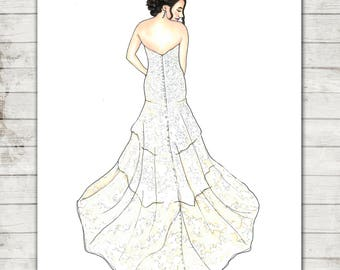 Wedding Dress Illustration | Bride Illustration | Wedding | Anniversary Gift | Wedding Gift | Wedding Dress | Anniversary | Wedding Drawing