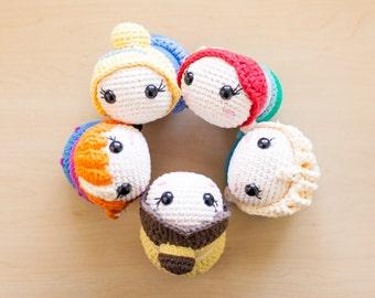 Handmade Disney Princess Tsum Tsum Crochet Amigurumi Dolls - Ariel, Belle, Cinderella, Elsa & Anna