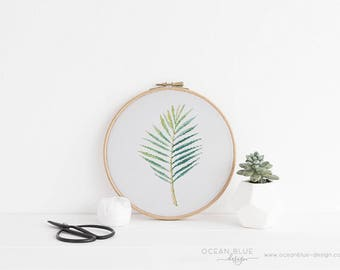 Cross Stitch Pattern, Palm Leaf, Tropical, Parlor, Palm Tree, Palm Beach, Counted Cross Stitch, Embroidery, PDF, ePattern, Instant Download