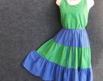 1970s Vintage Sun Dress Cotton, Green & Blue Small Polka Dot, Tiered Full Skirt, Scoop Neck, Sleeveless, E.V. Fashions, XS Bust 32