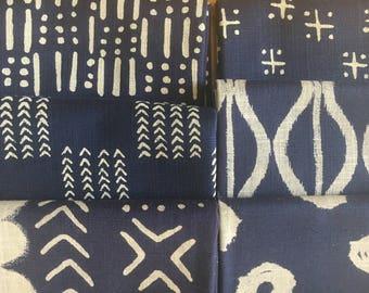 Twilight Mud Cloth from Windham Fabrics - 6 FQs, Half Yards, or Full Yard Bundles of indigo and cream