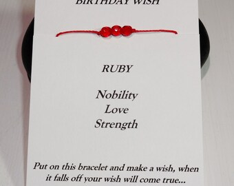 July Birthday Bracelet or Anklet - Swarovski Ruby Birthstone, BFF, Best Friend, Friendship Gift, Inspirational, Meaningful Gift
