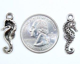 6 Antique Silver Seahorse Charms