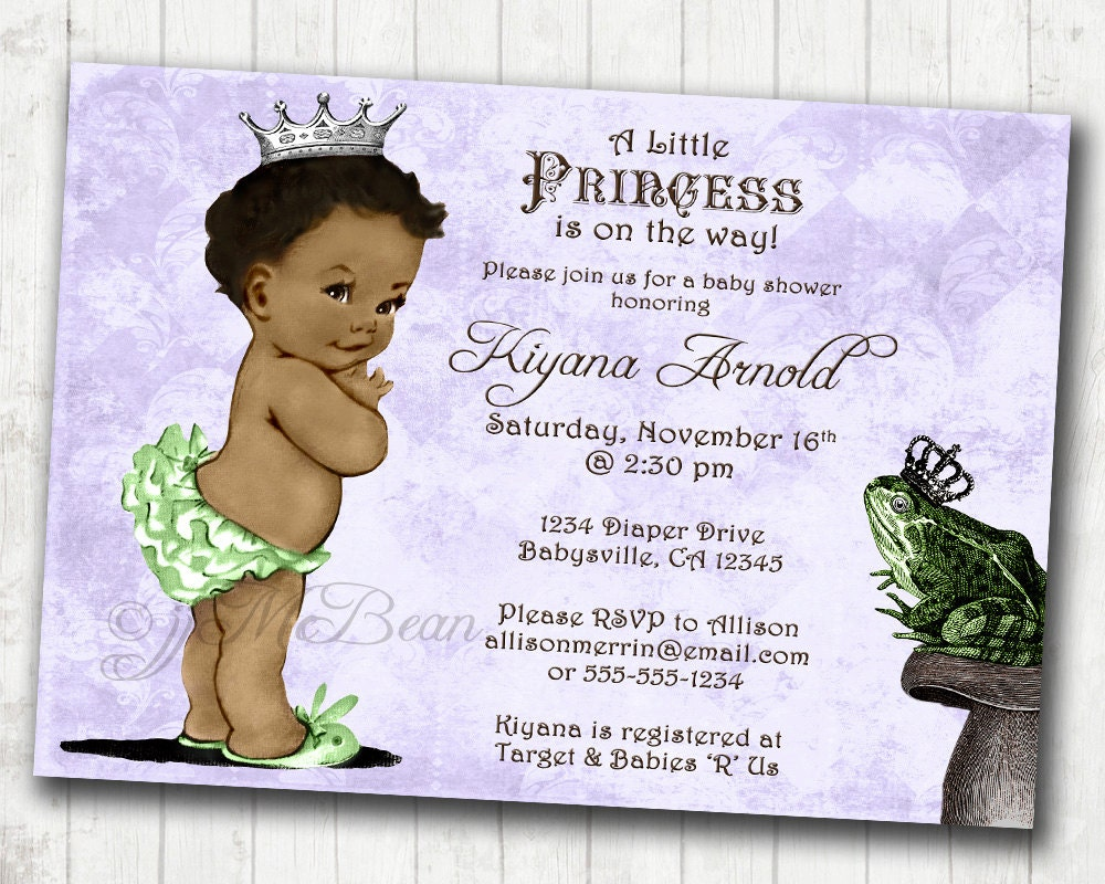 Princess and the Frog Birthday or Baby Shower Invitation For
