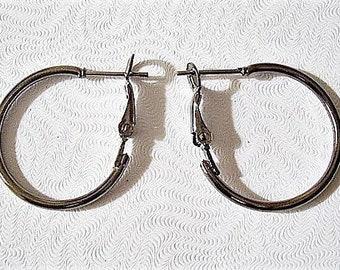 "1"" Black Smoke Hoops Pierced Post Stud Earrings Silver Tone Vintage Thin Tube Large Round Open Circle Rings"