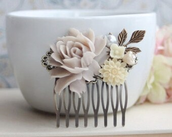 Wedding Hair Comb Soft Taupe Flower Comb, Taupe and Ivory, Almond and Ivory Brass Leaf Bridal Hair Comb Bridesmaids Gift Woodland Country