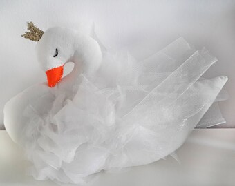 Swan princess stuffed nursery decor, swan baby pillow plush doll, baby shower birthday gift for baby girls, swan party decor