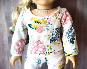 Floral Pullover Shirt for 18 Inch Dolls - Soft Knit Tee Shirt - Sweatshirt - Pajama Top