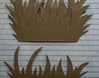 4 Bare chipboard die cuts grass Diecuts