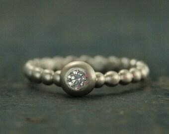 Diamond Dreams--14W Diamond Ring--Diamond Stacking Ring--Beaded Diamond Ring--Anniversary Ring--Bezel Set Diamond Ring--Hand made Engagement