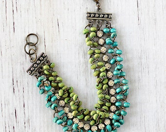 3 Strand Bracelet - Rhinestone Bracelet - Blue Layered Bracelet - Beaded Bracelet - Layered Bracelet - Re-purposed Vintage Jewelry