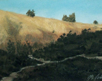 Valley Trail - small original pastel painting california landscape hills