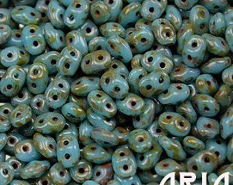 BLUE TURQUOISE Dark TRAVERTINE: SuperDuo Two-Hole Czech Glass Seed Beads, 2.5x5mm (10 grams)