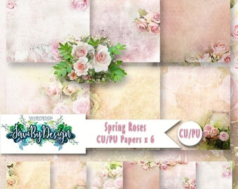 CU Commercial Use Background Papers set of 6 for Digital Scrapbooking or Craft projects SPRING ROSES Papers, Designer Stock Papers