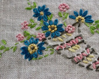 Vintage Linen Tea Towel with Hand Embroidery