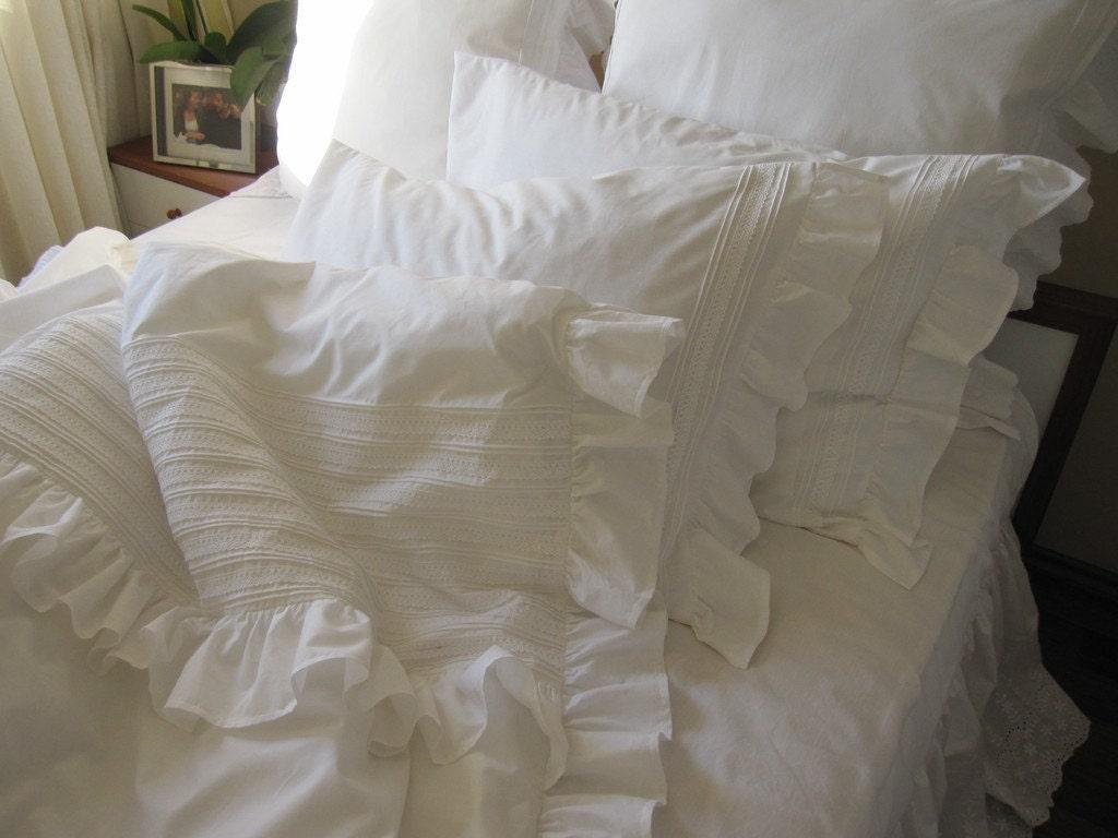 SHABBY Chic Pintuck Bedding Full Queen King Ruffle Duvet