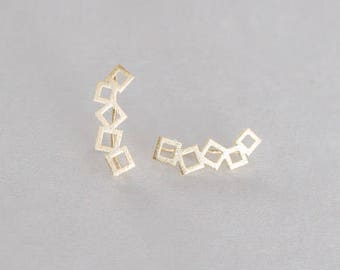 Boxed Ear Pin Earrings (3 colors)