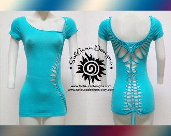 WILD ONE - Juniors / Womens Cut and Weaved Top, Yoga Wear, Beach Wear, Club Wear, Festival Wear