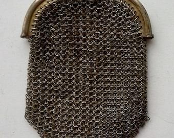 Antique silver metal mesh purse