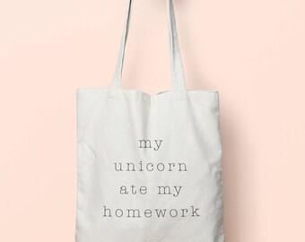 My Unicorn Ate My Homework Tote Bag Long Handles TB0049