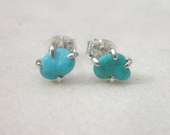Small turquoise earrings, everyday turquoise studs, Campitos turquoise nuggets & sterling silver, blue gemstone earrings, turquoise jewelry