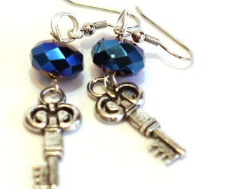 Blue and Silver Crystal Key Earrings - Womens Fashion Jewelry - Handmade Accessories - Gifts for Mom