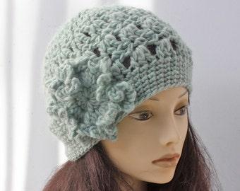 Mint Green Women's Hat, Flower Hat, Hand Crocheted Hat, Wool Cloche Hat, Winter Hat
