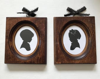 FRAMED Custom Silhouette in Real Vintage Wood Frame