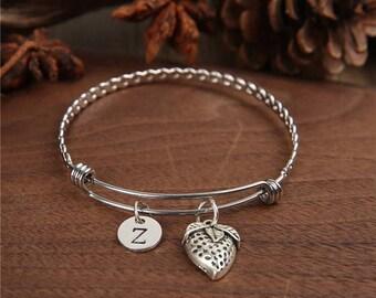 Strawberry Bangle, Strawberry Bracelet, Bridesmaid Gift, Strawberry, Personalized Bracelet,Charm Bangle, Birthstones Bangle, Monogram bangle