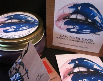 Lavender Kisses Beeswax Candle Gift Set, Limited Edition, Eco-friendly, Art, Aromatherapy, Scented Candle, Beeswax Candle, Gift